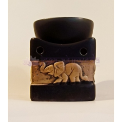 Aromalampa so slonmi malá - čierna s béžovým reliéfom