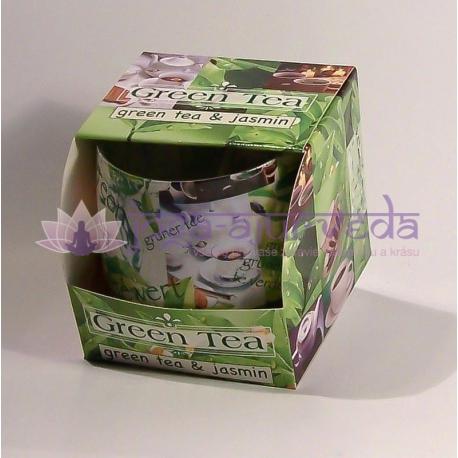 Zelený čaj s jazmínom - vonná ozdobná sviečka v skle