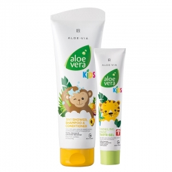 Aloevera  detská zubná pasta a dushgel, kondicionér, sprchový gél  3 v 1 250 ml