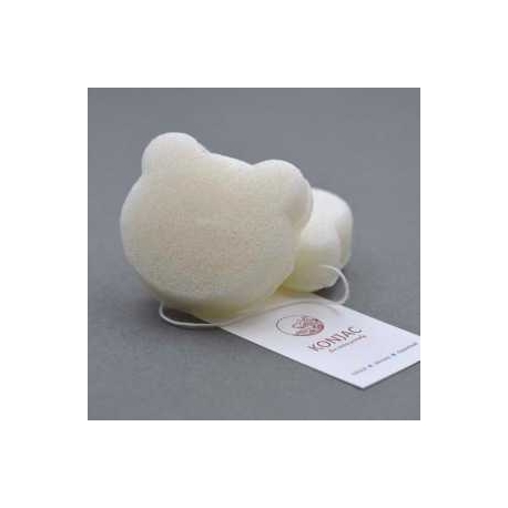 KONJAC prírodná špongia na čistenie pleti medvedík biela