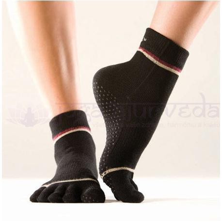 TOESOX protišmykové ponožky na jogu prstové - čierne