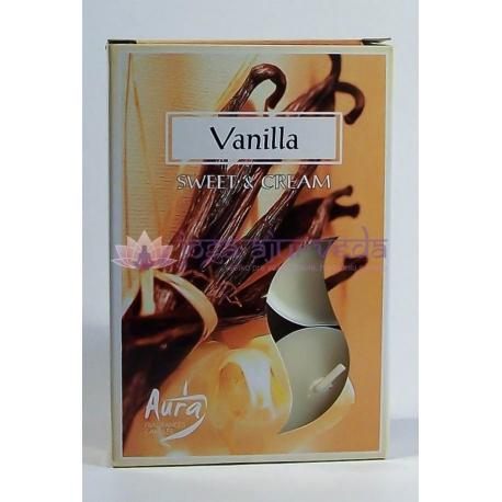 Vanilka - čajové sviečky 6 ks