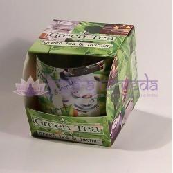 Zelený čaj - vonná ozdobná sviečka v skle