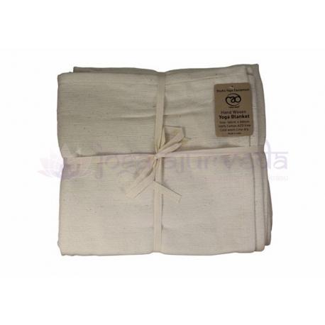 Joga prikrývka bavlnená, ručne tkaná - biela